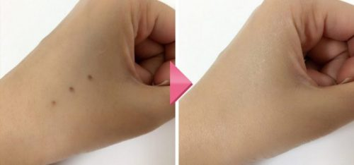 マキアレイベル・薬用クリアエステヴェールを自分の手で偽シミを作ってカバー力検証画像